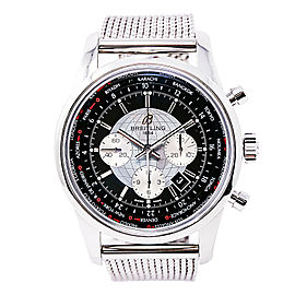 Breitling Transocean Unitime AB0510 Mens Automatic SS Chronograph Watch 46mm