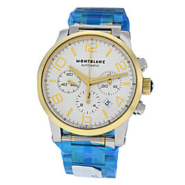 Mens Montblanc Timewalker 107320 Steel Gold 43MM Chrono
