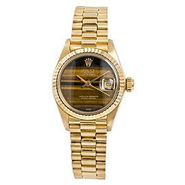 Rolex President Datejust 6917 Womens Automatic Watch Tiger Eye Dial 18K YG 26mm