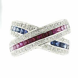 1.55 CT Multi Sapphires & 0.50 CT Diamonds in 18K Gold X Wedding Band Ring