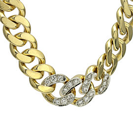 Tiffany & Co. 14k Yellow Gold Curb Chain Necklace with Diamonds