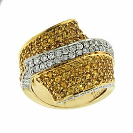 14K Yellow Gold 1.40 Ct Diamonds & 2.35 Ct Yellow Sapphire Wrap Ring Size 7