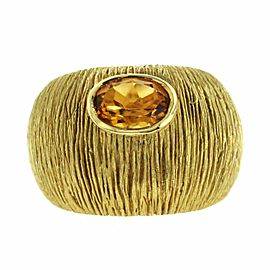 1.20 CT Citrine 18K Yellow Gold Dome Band Ring Size 7-9