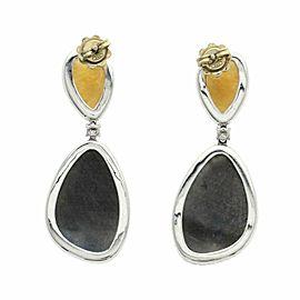 Rose Cut 33 CT Multi Sapphires 1.06 CT Diamonds 18K White Gold Drop Earrings