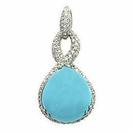 16 CT Natural Turquoise & 1.34 CT Diamond in 18K White Gold Pendant