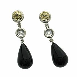 31.24 CT Natural Black Onyx & 0.86 CT Diamonds in 18K White Gold Drop Earrings