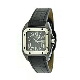 Cartier Santos 100 Midsize Black Stainless Steel Watch W2020008