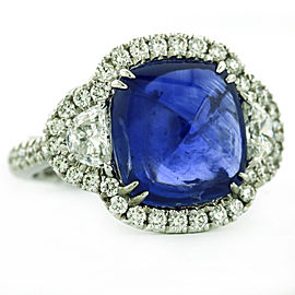 Crivelli Blue Sapphire Diamond 18k White Gold Ring