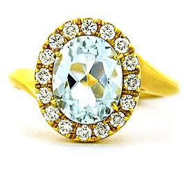 Crivelli 18k Rose Gold Aquamarine Diamond Halo Ring