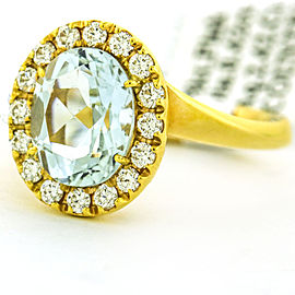 Crivelli 18k Rose Gold Aquamarine Diamond Halo Ring