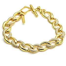2.50 Carat 18k Yellow Gold Curb Link Toggle Bracelet
