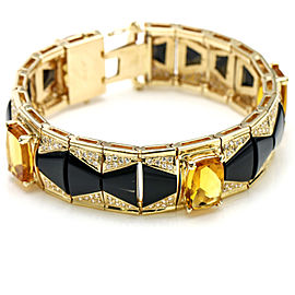 14k Yellow Gold Citrine Onyx Diamond Bracelet