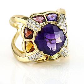 18K Yellow Gold Fantasy Cut Amethyst Multi Color Gemstone Fashion Ring