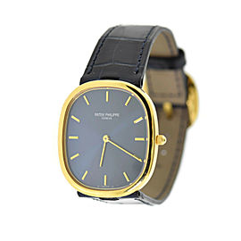Patek Philippe Golden Ellipse Blue Dial 18K Yellow Gold Watch 3738/100