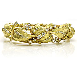 18k Yellow Gold Diamond Vintage Leaves Bangle Bracelet