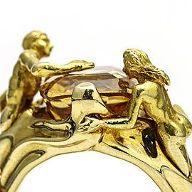 14Kt Yellow Gold Men Woman MOD DEP Citrine Fashion Ring