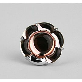 BACCARAT JEWELRY B FLOWER ST.SILVER LIGHT PINK MIRROR LARGE RING SZ 7-55 NO BOX