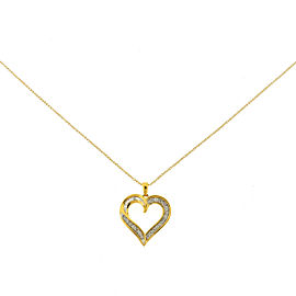 14k Yellow Gold Diamond Heart Pendant Fine Chain Necklace