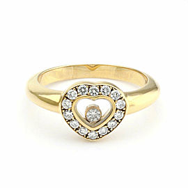 Chopard Happy Diamond 18k Yellow Gold Heart Ring w/Diamond Bezel Size 5