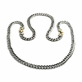 "David Yurman Sterling 14k Gold Double Hook Station Curb Link Chain 34"" Long"