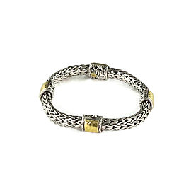 John Hardy Classic Sterling 18k Yellow Gold Weave Chain Hammered Motif Bracelet