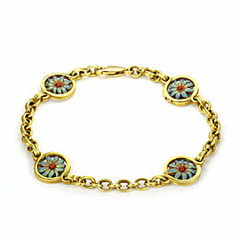 Masriera Enamel 4 Flower Station 18k Yellow Gold Chain Bracelet w/Cert.