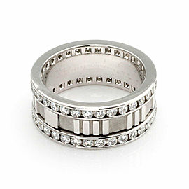 Tiffany & Co. ATLAS Diamond 18k White Gold Roman Numeral 8.5mm Band Ring Size 7