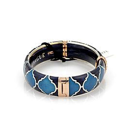 Nouvelle Bague Diamond Blue Enamel 18k Gold Sterling Bangle Bracelet
