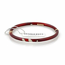 Nouvelle Bague Diamond Red White Enamel 18k Gold/Sterling Bracelet NWT