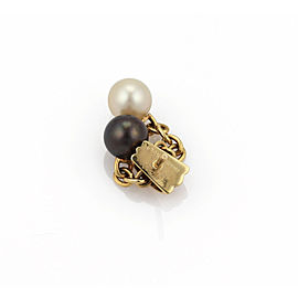 Cartier Trinity Cultured Black & White Pearls 18k Yellow Gold Earrings w/Cert