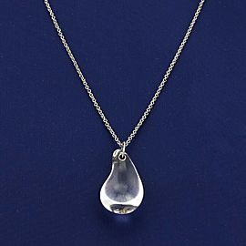Tiffany & Co. Peretti Rock Crystal Tear Drop Pendant Platinum Necklace