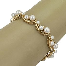 Mikimoto Pearls & Diamond 18k Yellow Gold 9 Curved Link Bracelet