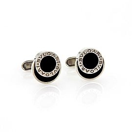 Bvlgari Onyx Engraved Sterling Silver Fancy Round Button Stud Cufflinks