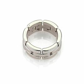 Cartier Maillon Panthere 18k White Gold 8mm Wide Band Ring Size 50 US 5