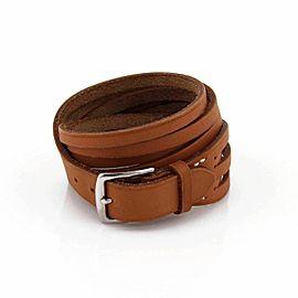 Hermes Brown Leather Multi Strips Wide Long Belt & Buckle Bracelet
