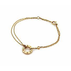 Cartier Love Diamond Pink Sapphire Ring Charm 18k Gold Double Chain Bracelet