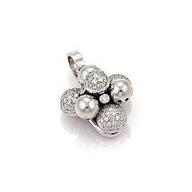 Pave Diamond Cluster Bead Floral 18k White Gold Pendant