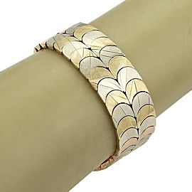 Vintage 18k Tri-Color Gold Fancy Textured Double Row Curved Link Bracelet