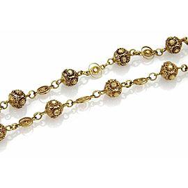 "Estate 18k Yellow Gold Filigree Floral Balls Fancy Long Necklace 46"""