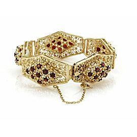 Estate Garnet 14k Yellow Gold Large Filigree Floral Link Bracelet