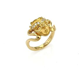 Carrera y Carrera Woman's Masked Face Diamond 18k Yellow Gold Ring Size 6