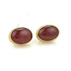 Gurhan RUNE 72.60ct Cabochon Rodocrosite 24k Gold Post Earrings $4,100