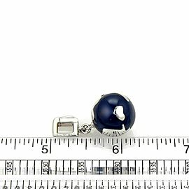 Louis Vuitton 18k White Gold Lapis & Diamond Globe Charm Pendant