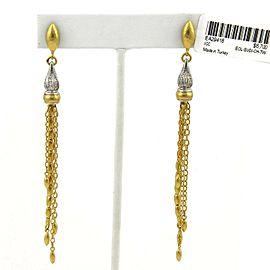 Gurhan SULTAN Diamond 24k Gold & 18k White Gold Dangle Tassel Earrings Rt $6,700