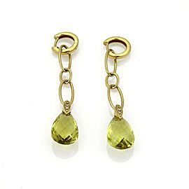 Citrine & Diamond Long Drop 18k Yellow Gold Dangle Earrings