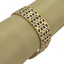 Vintage 18k Two Tone Gold Wide Geometric Flex Link Bracelet