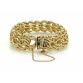 "Estate 14k Yellow Gold Multi-Ring 21.5mm Wide Charm Bracelet 8"" Long"
