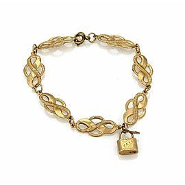 Victorian 14k Rose Gold Fancy Curved Link & Padlock Charm Bracelet