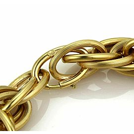 Retro Large 18k Yellow Gold Multi Oval Grooved Links Bracelet