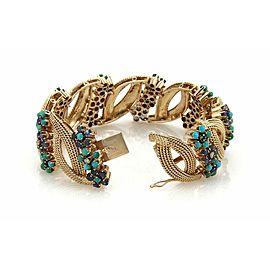 Estate Diamond Sapphire & Turquoise 14k Rose Gold Fancy Design Floral Bracelet